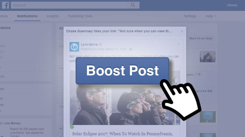 Facebook Post Boost Button