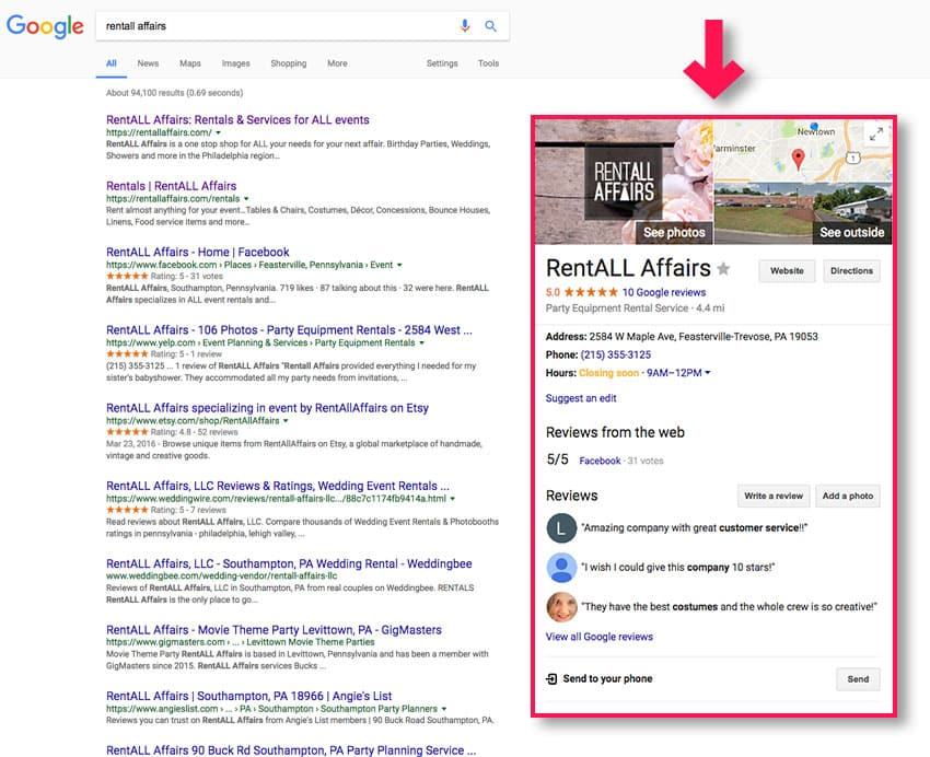 Google Business listing on search results page