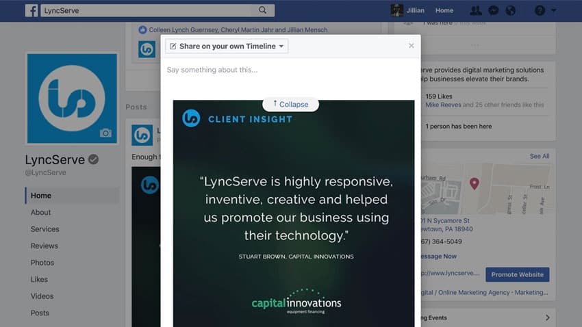 Screen capture of sharing on Facebook