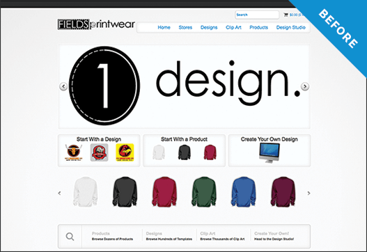 Fields Printwear website before redesign