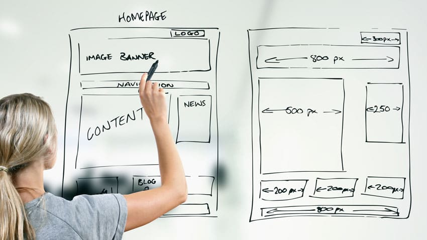 A woman whiteboarding elements of a homepage