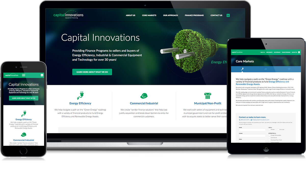 Capital Innovations Website on different devices