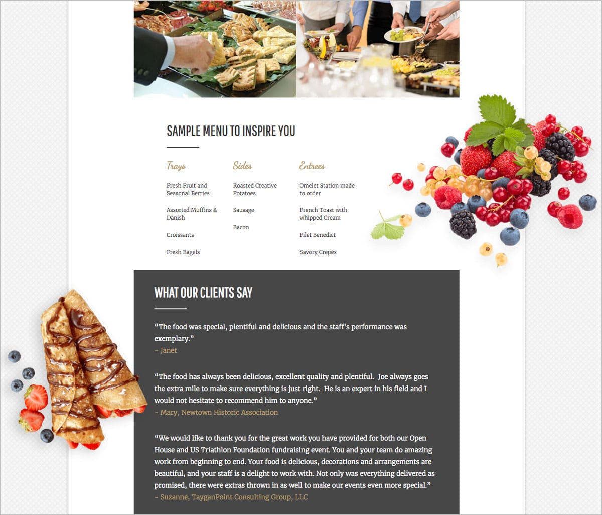 Joseph's Premier Event Catering Webpage Screenshot
