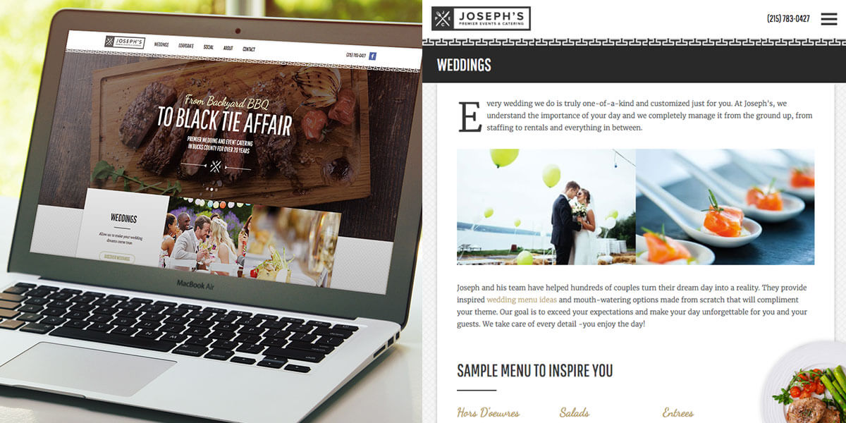 Joseph's Premier Event Catering Website