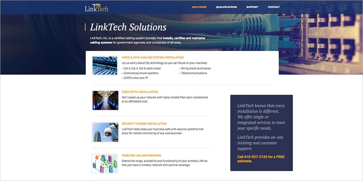 LinkTech Webpage Screenshot