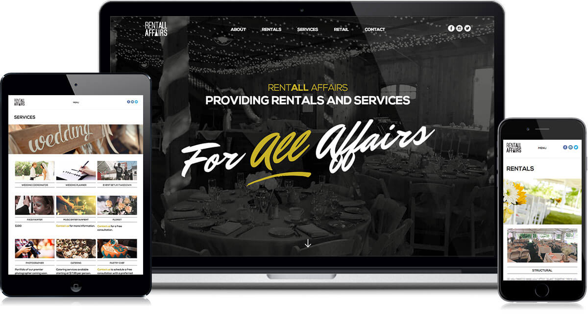 RentALL Affairs Website on different devices