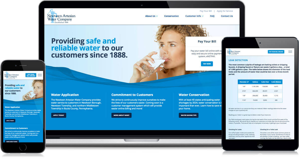Newtown Water Website on different devices