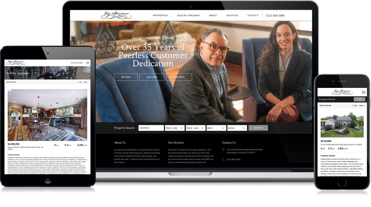 Spaziano Website on different devices