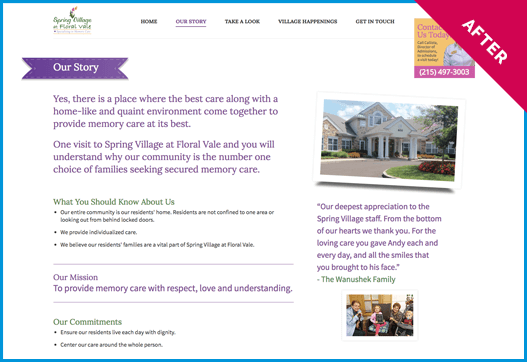 Spring Village website after redesign