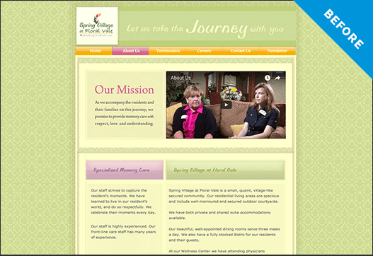 Spring Village website before redesign